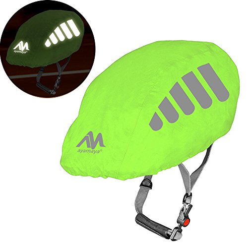 Bike Helmet Cover with Reflective Strip, AYAMAYA High Visibility Waterproof Cycling Helmet Rain Cover, Universal Size Windproof Dustproof Breathable Mountain Road Bicycle Helmet Water Cover Ride Gear