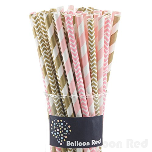 Biodegradable Paper Drinking Straws (Premium Quality), Pack of 100, Combo - Gold & Pink / Striped & Chevron