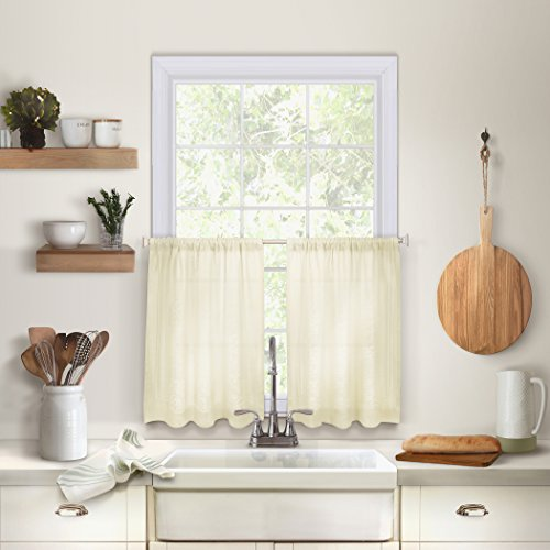 """Elrene Home Fashions 26865775327 Solid Hemstitched Rod Pocket Café/Kitchen Tier Window Curtain, Set of 2, 30"""" x 24"""", Ivory, 30"""" W x 24"""" L"""