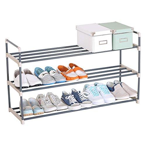 WOLTU SR0006 Schuhablage Schuhregal Schuhständer, XXL 3 Schicht für 15 Paare Schuhe, 92x30x54cm , beige
