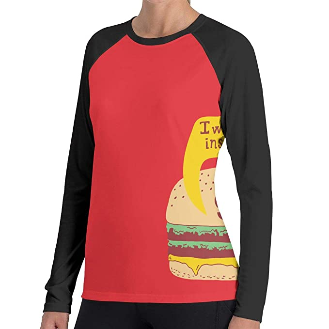 a1c007ef Image Unavailable. Image not available for. Color: Women Creepy Burger Long  Sleeve Baseball Tee ...