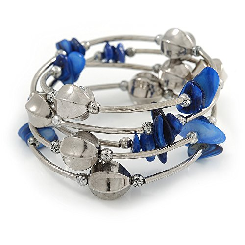 Avalaya Navy Blue Shell Nugget, Mirrored Faceted Bead Multistrand Flex Bracelet - Medium