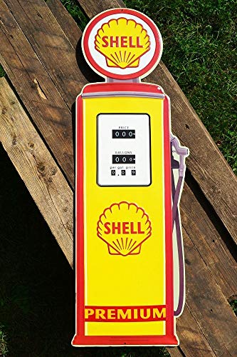 (ShopForAllYou Vintage Decor Signs Shell Gasoline Pump Embossed Tin Metal Sign - Die Cut - Gas & Motor Oil - Retro)