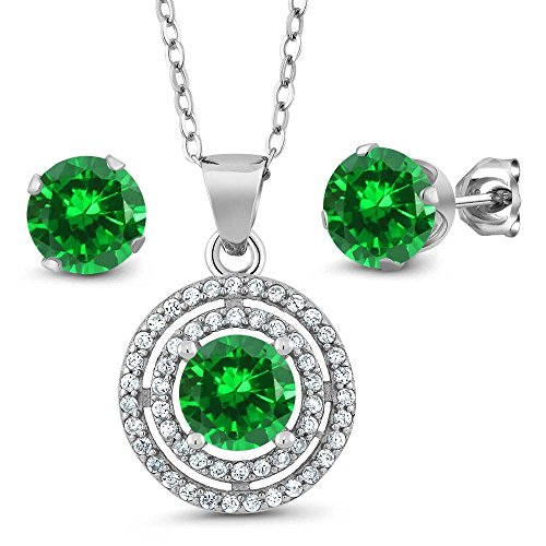 3.00 Ct Round 6mm Simulated Emerald 925 Sterling Silver Pendant Earrings Set with 18