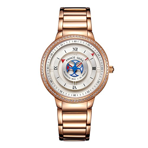 PRINCE GERA Waterproof Automatic Couples Watch Valentine's Day His Gift Rose Gold by PRINCE GERA