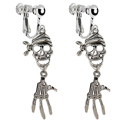 Retro Pirate Skull & Skeleton Hand Clip on Dangle Earrings Tassel for Kids Girls Women (Antique Silver) ()