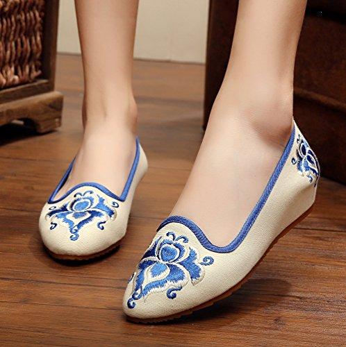 Cales De Broderie Avacostume Pointe Bout Plat Sur Les Chaussures Pour Femmes Filles, Blanc, 35