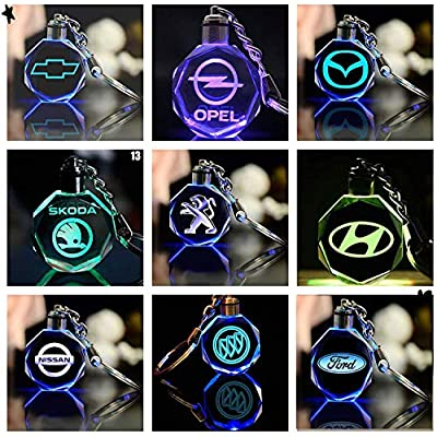 Fitracker Car Logo Keychain Crystal Led Light Changing Key Chain Keyring Accessories with Gift Box: Automotive