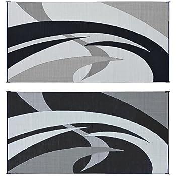 Reversible Mats 159181 Black/White 9'x18' Swirl Pattern Mat