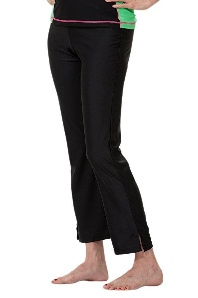 HydroChic Women's Plus Size Modest Long Swim Pants – Quick Drying Activewear (Black, 4X)