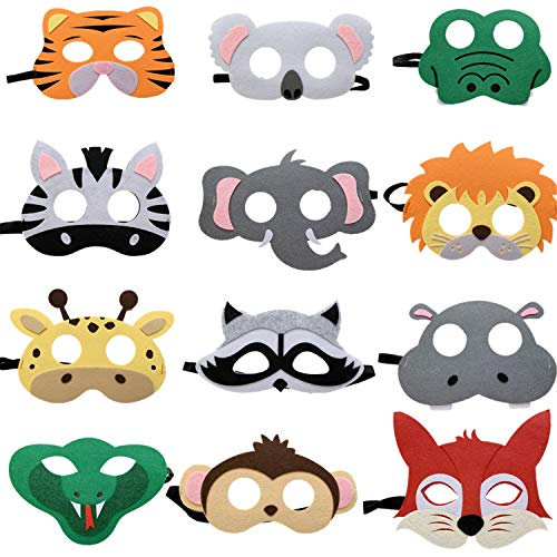 STARKMA 12pc Forest-Friends Jungle Animal Felt Masks