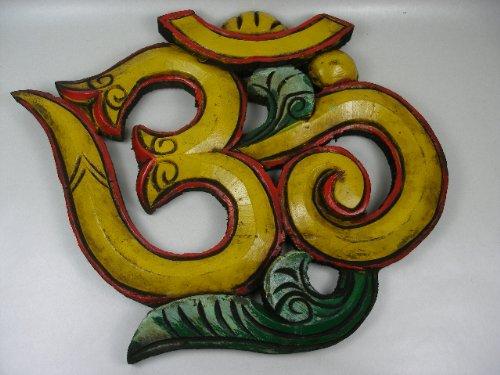 Tibet OM Zeichen 15 cm Holz Handmade in Nepal