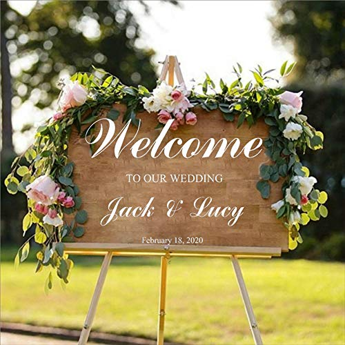 WSLIUXU Wedding Decor Applique Personality Bride and Groom Name Date Customized Stickers Welcome to Our Wedding Wall Stickers from Home and Garden Medium Blue 13 80x57cm
