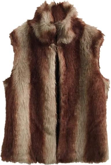 UOMOGO Donne Gilet di Pelliccia Sintetica Senza Maniche Giacche Cappotti Outwear in Pelle