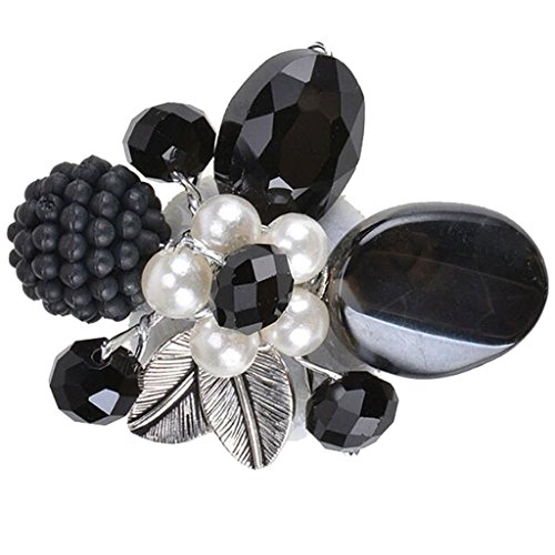 Modogirl Handmade Brooches Pins Beautiful Black Stone Flower Brooch Pin Crystal Simulated Pearl Corsage