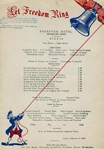 Sheraton Hotel Restaurant Dinner Menu Newark New Jersey 1945 Let Freedom Ring (Dinner Sheraton)