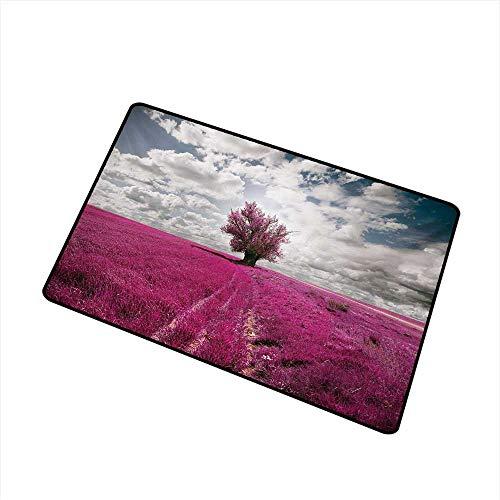 BeckyWCarr Nature Front Door mat Carpet Surreal Enchanted Oniric Meadow with Single Tree Idyllic Unusual Scene Machine Washable Door mat W31.5 x L47.2 Inch,Fuchsia Petrol -