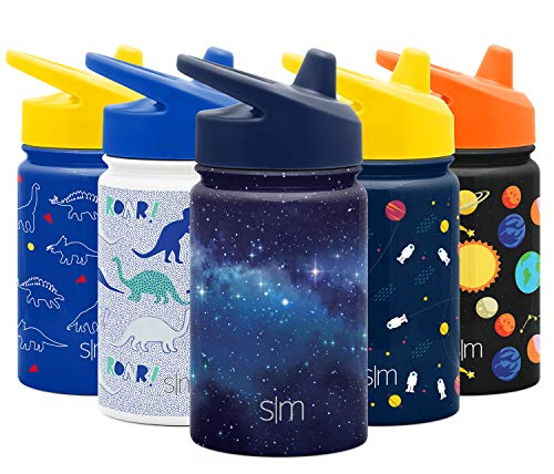 Simple Modern Kids Insulated Cup with Lid and Silicone Straw Stainless Steel Flask Metal Thermos for Toddlers Boys and Girls, 10oz Sippy, Milky Way