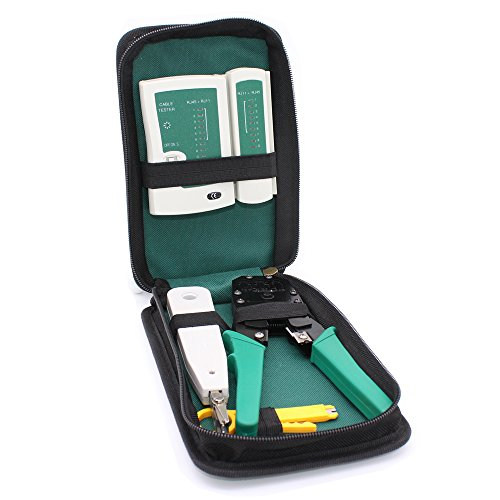 GORCHEN Network Maintenance Repair Tool Kit Professional Computer Phone Cable Crimper RJ45 RJ11 RJ12 Cat5 Cat6 Tester Network Wire Punch Down Impact Tool Stripper Cutter Set by GORCHEN