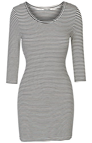 Jersey Striped Shorts (Instar Mode Women's Classic Casual Jersey Striped 3/4 Sleeve Bodycon Dress (D37813 White, Small))