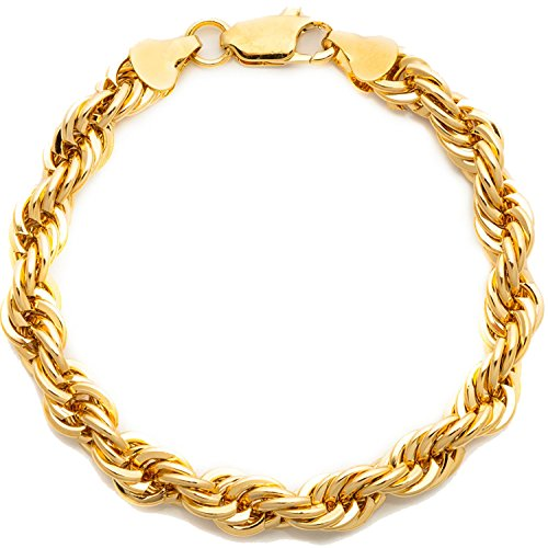 Hollywood Jewelry 24k Gold Rope Chain 7MM Rope premium Fashion jewelry chain 24K yellow gold chain (8) 24k Yellow Gold Rope Chain