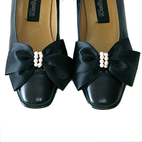 Satin Big Bow Pearl Shoe Clips Shoe Ornaments Shoe Ribbon Charm Accessory (Black)