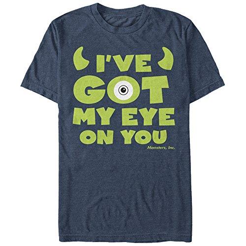 Monsters Inc Men's Mike Wazowski Eye on You Navy Blue Heather T-Shirt (Mike Wazowski Best Friend)