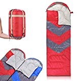 bag with hood - Abco Tech Outdoor Rectangular Twin Sleeping Bag with Hood (Left Zipper - Red)