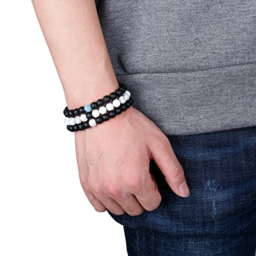 FUNRUN JEWELRY 6PCS Bead Bracelets for Men Women Natural Stone Mala Bracelet (E: 6 PCS Style 4) by FUNRUN JEWELRY (Image #3)