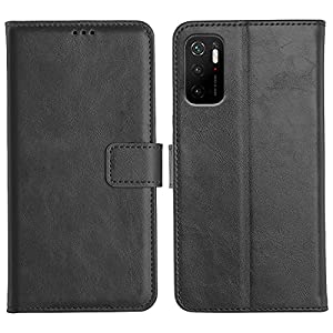 Accesorios Genuine Leather Finish Flip Case Cover for Poco M3 Pro 5G | Inside Pockets & Inbuilt Stand | Wallet Style…