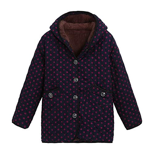 FEDULK Womens Hooded Coat Winter Warm Floral Print Outwear Vintage Oversize Jacket Plus Size Overcoat(Watermelon Red, US Size XL = Tag 2XL) by FEDULK