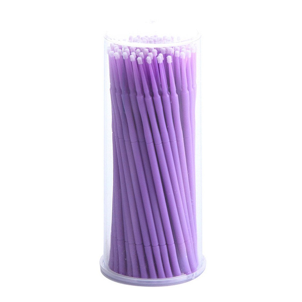Alonea Applicators Brush, 100Pc/Bottle Microblading Micro Brushes Swab Lint (Purple❤️)