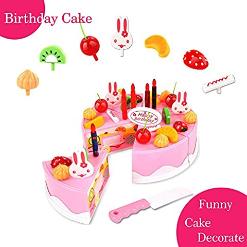 BigNoseDeer Play Birthday Cake Childrens Day Gift Food Toy Set DIY Cutting Pretend Party With Candles F