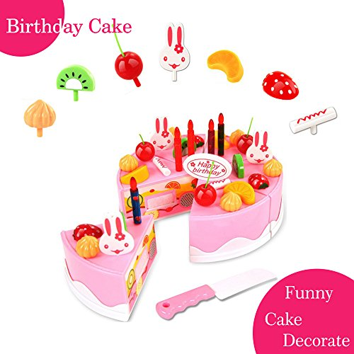 BigNoseDeer Play Birthday Cake Children's Day Gift Play Food Toy Set DIY Cutting Pretend Play Birthday Party Cake with Candles for Children Kids Classic Toy 37pcs(New Outer - Play Set Cake Food