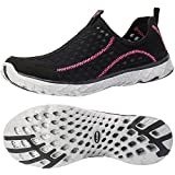 ALEADER Women's Mesh Slip On Water Shoes Black/Fushia 8.5 D(M) US