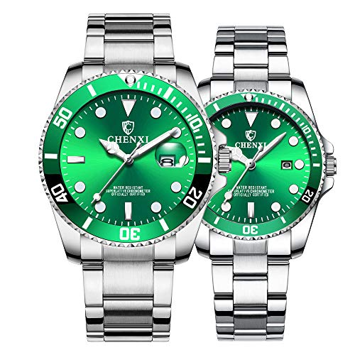 2 Watch Set - Couple Watches Classic Silver Stainless Steel Watch His and Hers Waterproof Quartz Watch Gifts Set of 2 (Silver Green)