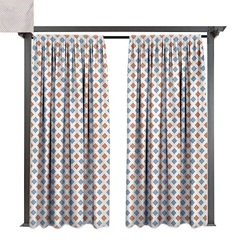 Big Border Bold (bybyhome Outdoor Waterproof Curtain Modern Geometrical Image with Colorful Rhombus and Bold Borders Image Print W96 xL84 Suitable for Front Porch,pergola,Cabana,Covered Patio)