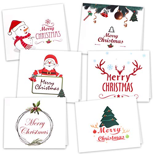 Kuuqa 36 Pieces Christmas Greeting Note Cards with Envelopes and Stickers 6 Designs,Christmas Party Decoration Supplies