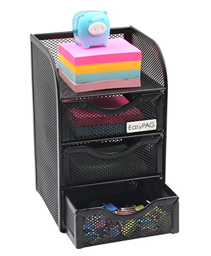 EasyPAG Mesh Cute Desk Accessories Organizer Caddy 3 Drawer Mini Hutch,Black