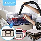 VICOODA Storage Bag Organizers, Fabrics Closet Organizers,Foldable Underbed Storage Organizers Box a Vacuum Storage Bag Comforters, Pillows, Blanket, Duvet, 40 Liter, Beige