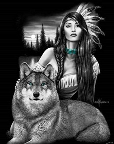 DGA Native Girl and Wolf Stretched Canvas Wood Framed Wall Art 12x16 Inches - Harmony