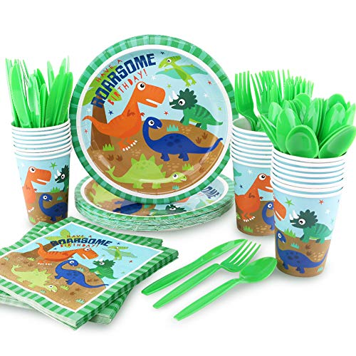Seemaxs 144Pack Dinosaur Party Supplies Set Serves 24 Perfect Dinosaur Birthday Packs Including Plates Napkins Cups Forks Spoons Knives -