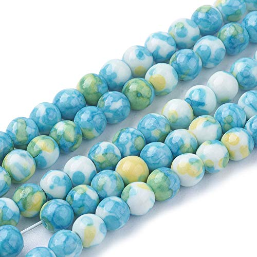(Pandahall 10 Stands Synthetic Ocean White Jade Beads Strands Round Turquoise Dyed Gemstone Loose Beads for Bracelet Necklace Jewelry Making (15