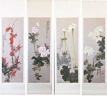 Amazon Com Chinese Brush Painting Wall Art Four Seasons Set Of 4