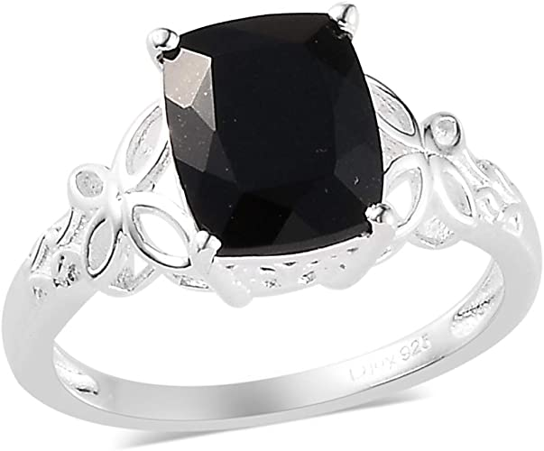 Cut Black Spinel Handmade Jewellry 925 Sterling Silver Plated 8 Grams Ring Size 7.5 US