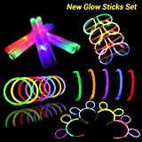 LifBetter Glow Sticks Set, 12 PCS Mixed Colors LED Foam Sticks and 30 PCS Glowsticks with Glasses and Hair Hoops, One Set for Family Party Favors Supplies