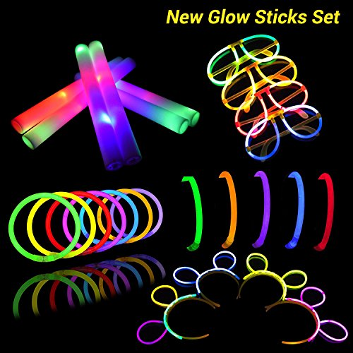 LifBetter Glow Sticks Set, 12 PCS Mixed Colors LED Foam Sticks and 30 PCS Glowsticks with Glasses and Hair Hoops, One Set for Family Party Favors Supplies by LifBetter