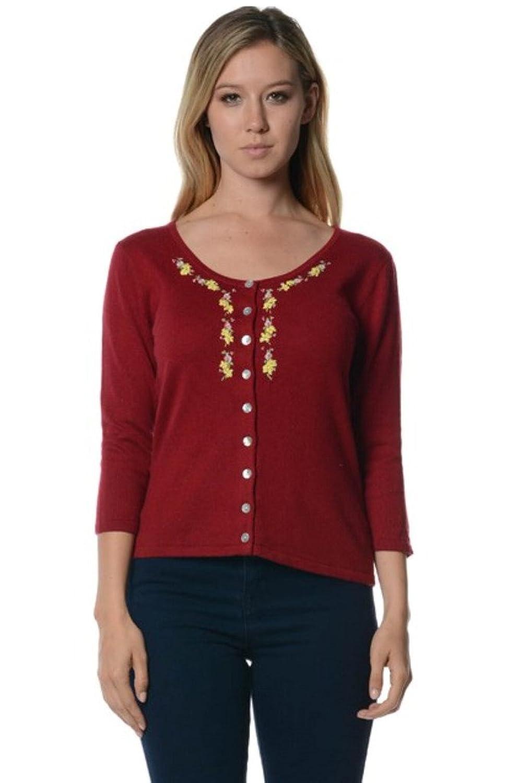 Retro Vintage Sweaters Bloom Womens Cashmere Blended Embroideried U-Neck Cardigan Sweater  AT vintagedancer.com