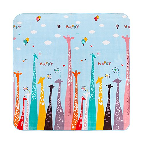 MeMoreCool Colorful Giraffe Cartoon Area Rugs Anti-slip Kids Bedroom Carpet Thicken Baby Crawling Mats Machine Washable Rugs 77 X 79 Inch