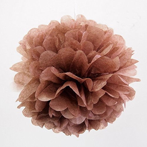 10Pcs Brown Tissue Paper Pom-poms Flower Ball Wedding Party Outdoor Decoration